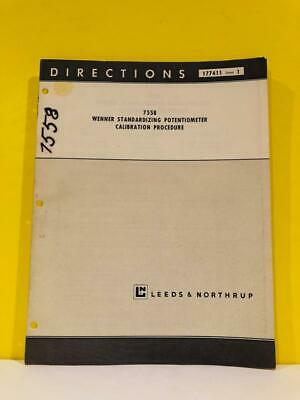 Leeds Northrup 7558 Wenner Standardizing Potentiometer Calibration Manual