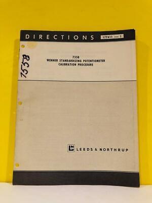 Leeds Northrup 7558 Wenner Standardizing Potentiometer Calibration Manual