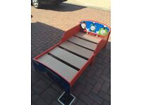 Thomas the tank wooden toddler bed. With mattress and bedding and storage drawers
