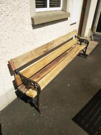 8ft Solid Oak Victorian Cast Iron Garden Bench Seat