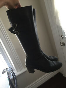 Back Heeled Leather Boots
