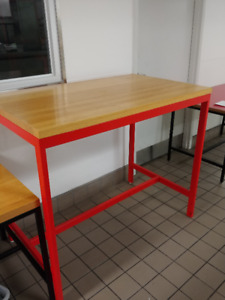 wood table top with steel leg 50 x 30 x 42 1/2H