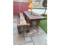 Garden table and bench reclaimed reclamation