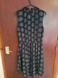 Black Print Dress H&M Size 8