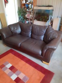 Free! Modern 3 seater sofa choclate leather 3 seater sofa