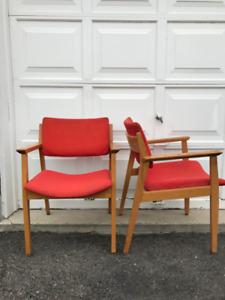 mid-century modern oak chairs, by H. Krug Furniture.