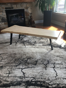 Custom made live edge coffee table using a contemporary design