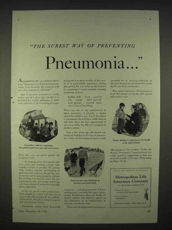 1940 Metropolitan Life Insurance Ad - Pneumonia
