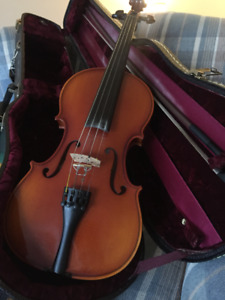fiddle, bow, case and music stand