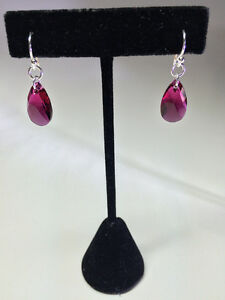 Sterling Silver Swarovski Crystal Earrings - Ruby