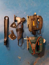2 jigsaws and a oscillating saw/sander