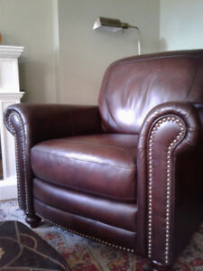 New LEATHER CLUB CHAIR with brass studs