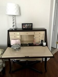 Makeup table/desk , solid wood/leather with matching bench