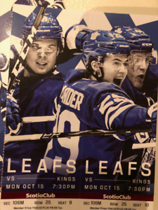 MAPLE LEAFS HOME GAMES - 2 PAIRS LEFT! - CLUB SEATS