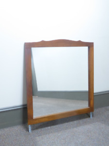 LARGE WOODEN FRAMED MIRROR FOR WALL OR ON A DRESSER - MINT