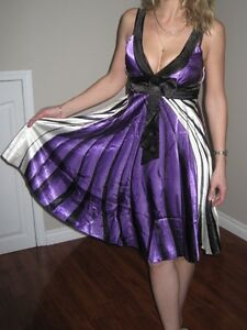 New w/Tags *Ever Pretty* Designer Dress Black/White/Purple Sz S
