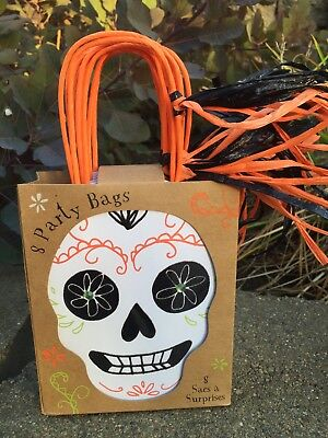 Set 8 HALLOWEEN Goody Party Treat Bags Favors Meri Meri Skeleton Sugar Skull new