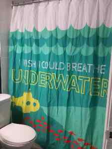 Bathroom Accessories - shower curtain and pictures