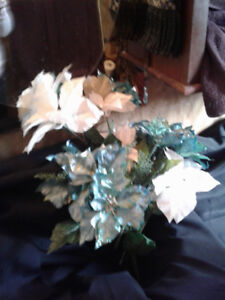 $5 for ALL*GLITTER Turquoise & White FLOWER STEMS*AD'S UP, AVAIL