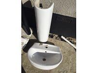 New bathroom sink and pedestal
