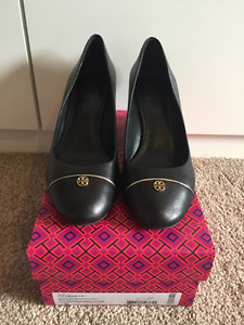 TORY BURCH Tiffy Wedges Black Leather Size 10