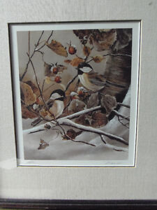 Winter Chickadees Signed numbered Original Print! Lovely! London Ontario image 1
