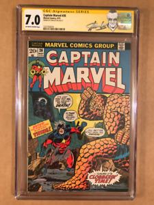 Captain Marvel 26 CGC 7.0 FN/VF Signature Series Stan Lee.