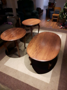 Oval Solid Oak Coffee and End Tables
