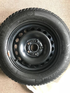 "LIKE NEW 15"" rims with Mich XIce Winter tires 5-bolt 195/65/15"