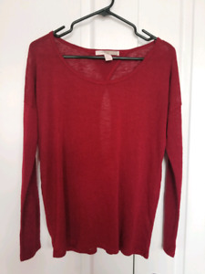 Dark red long sleeve sweater with cutout