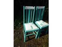 2x Upcycled Shabby chic blue chairs