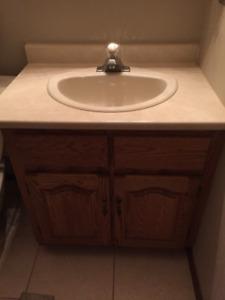Oak Bathroom Vanity, Counter, sink and Faucet