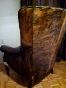 Leather fur chair