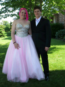 Pink and silver prom dress m-xl