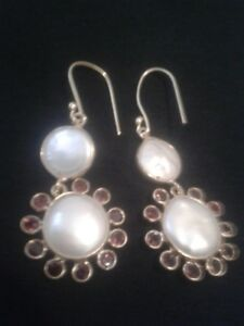 14k Gold Ear rings with 20 garnets and pearl centers