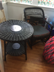 Antique wicker rocker and table set