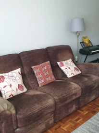 3 seater brown electric recliner sofa