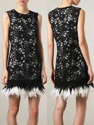 NWT DONNA KARAN NY (BLACK LABEL) OSTRICH FEATHER HEM DRESS  8,10,12    - Black Ostrich Feather Dress