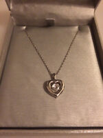 """18"""" Sterling Silver Dancing Diamond Heart Necklace"""