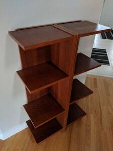 Wood veneer corner shelves