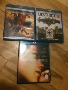 3 films blu ray spiderman 3, district 9, polytechnique movies