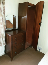 Retro wardrobe and chest of drawers.