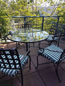 Patio table and 4 chairs, metal and glass