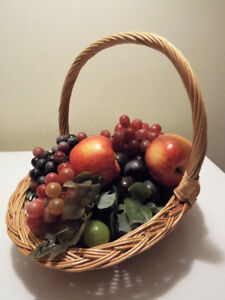 Colourful Quality Artificial Fruit with Wicker Basket