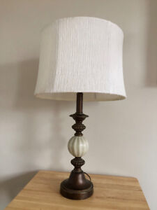 Classic Table Lamp - White Textured Shade & Bulb Included