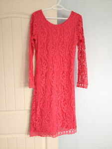 Lace dress, navy skirt, purple dress