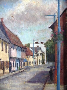 "British Original Painting by O. Nail ""High Street in Epsom"" 1959 Stratford Kitchener Area image 4"