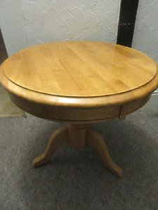 NICE SOLID WOOD PEDESTAL END TABLE