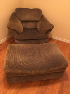 Large arm chair and ottoman