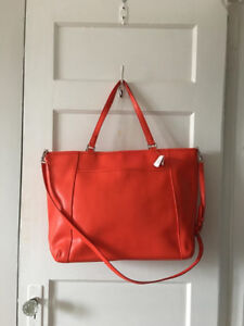Coach Leather Tote Bag Coral Authentic